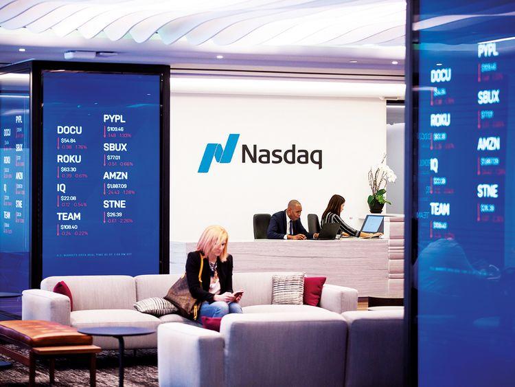 Stock market information is displayed at Nasdaq's MarketSite