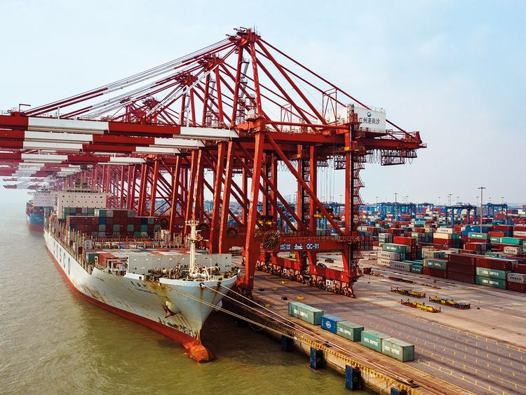 A container ship Guangzhou, China
