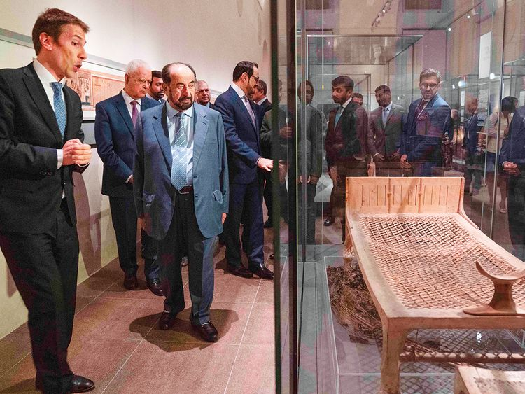Dr Shaikh Sultan Bin Mohammad Al Qasimi at museum in Turin