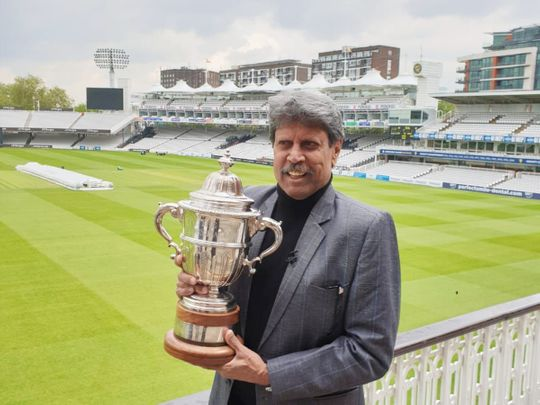 Kapil Dev poses with the Prudential World Cup