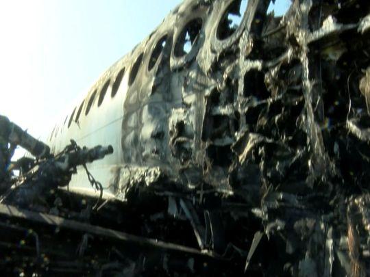 190506-A burnt-out Aeroflot Sukhoi Superjet 100 passenger plane