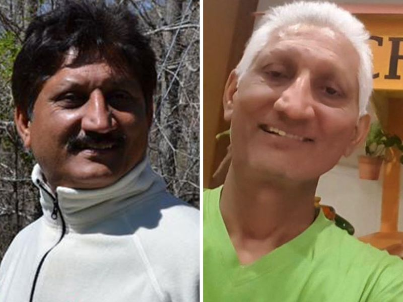 Aman's father, Ganapathy, in healthier times (left) and in July 2018.