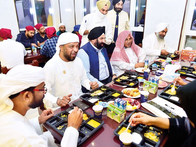 Watch: Muslims pray, end fast in Dubai's Sikh shrine