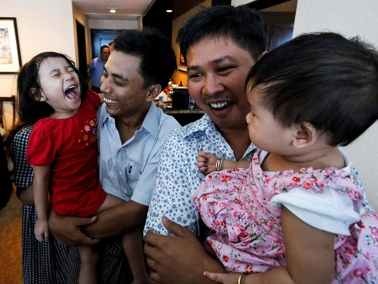 Reuters journalists Wa Lone (R) and Kyaw Soe Oo