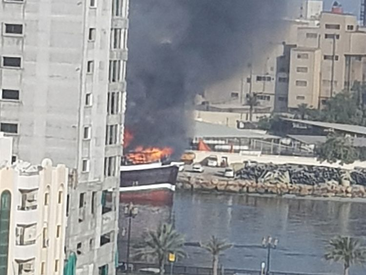 13 people rescued from burning cargo ship in Sharjah