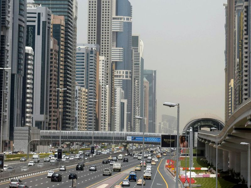 Dubai skyline generic traffic