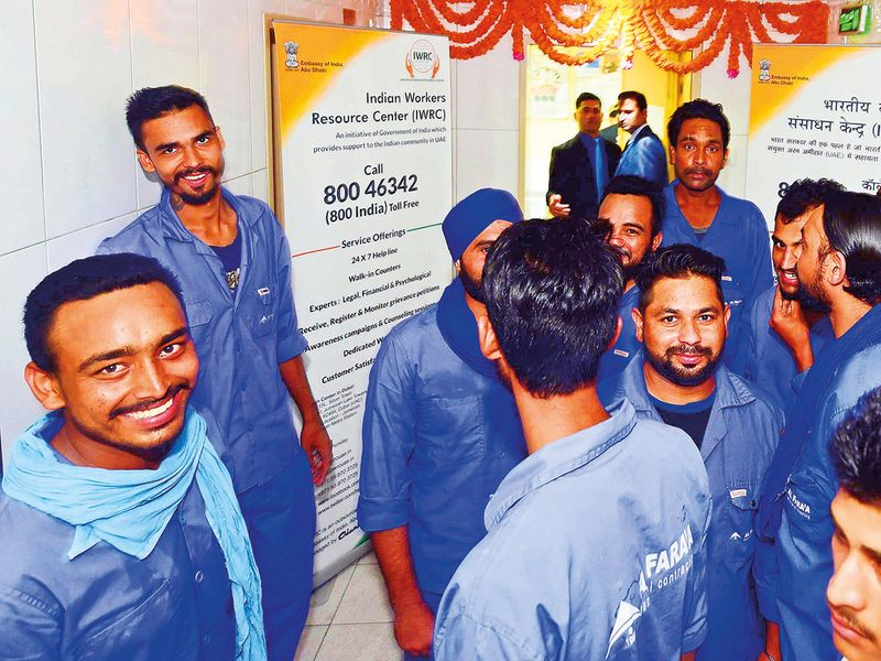 Indian workers at IWRC centre in Sharja