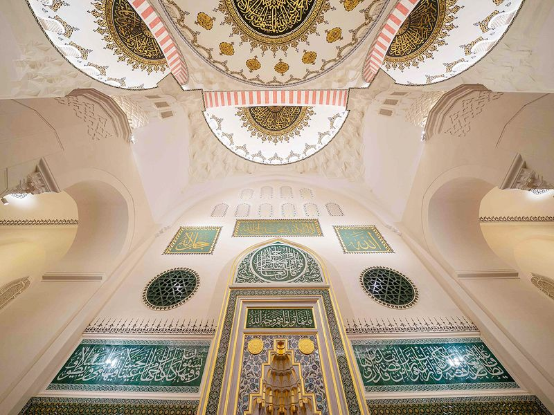 The interior of the Sharjah Mosque