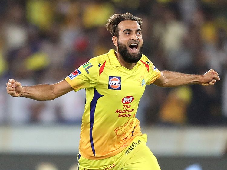 Chennai super Kings' Imran Tahir celebrates
