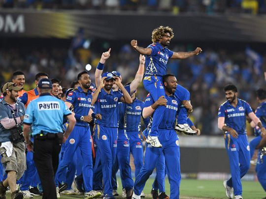 Members of Mumbai Indians celebrate