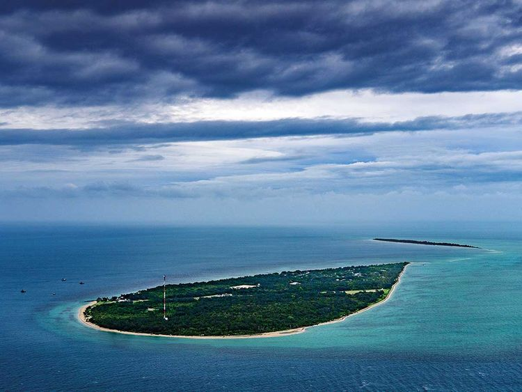An aerial view of Masig Island