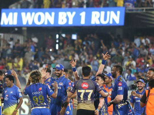 Members of Mumbai Indians celebrate