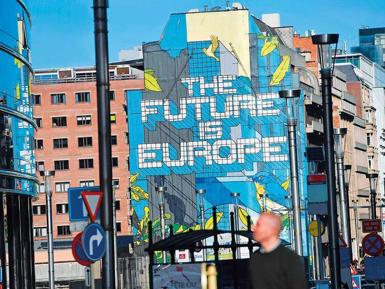A mural reading 'The Future is Europe'