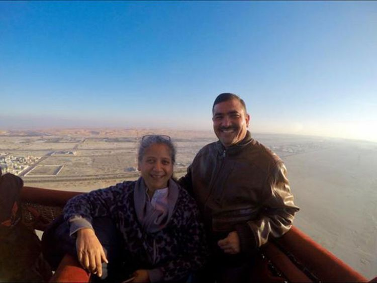 Nauren and Abdul on the hot air balloon