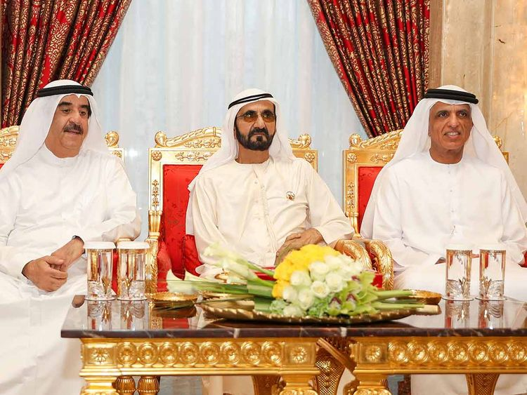 Shaikh Mohammad with Rulers of UAQ and RAK