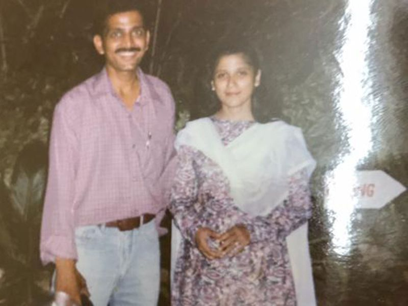 Naureen and her husband in the early days
