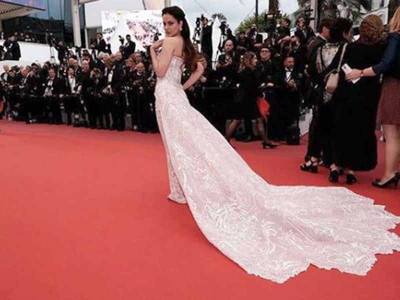 Kangana Ranaut in a Michael Cinco dress at the Cannes.