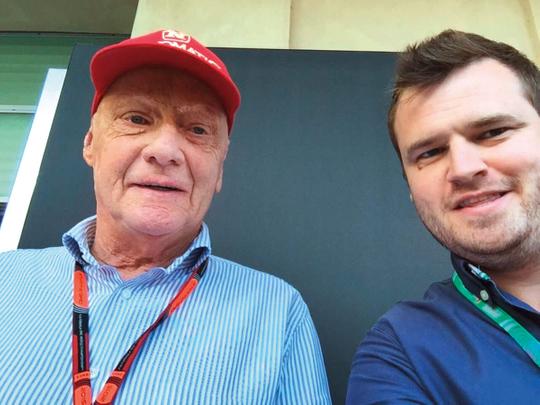 Niki Lauda with the writer during the 2015 Abu Dhabi Grand Prix.