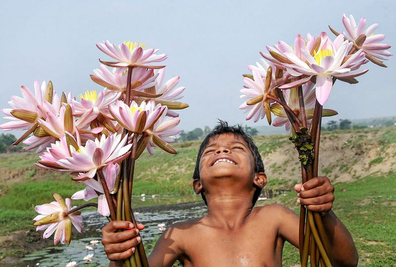 A boy poses with lotus flowers