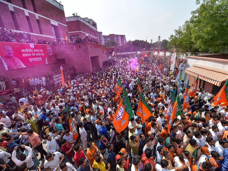 BJP supporters celebrate their victory