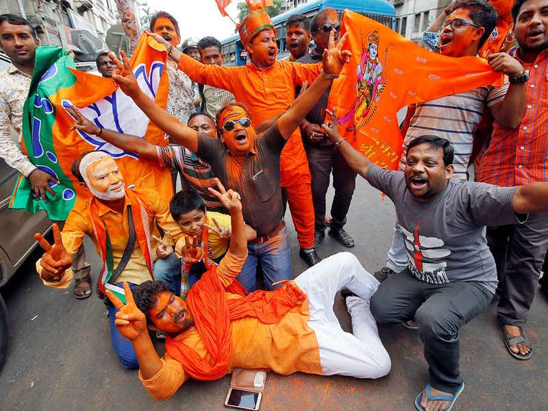 Supporters of BJP celebrate