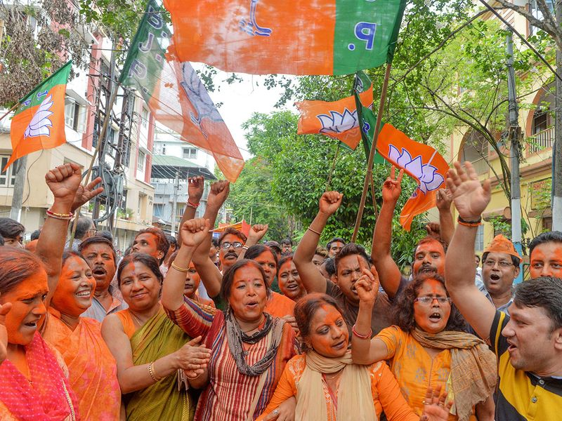 Supporters of BJP shout slogan