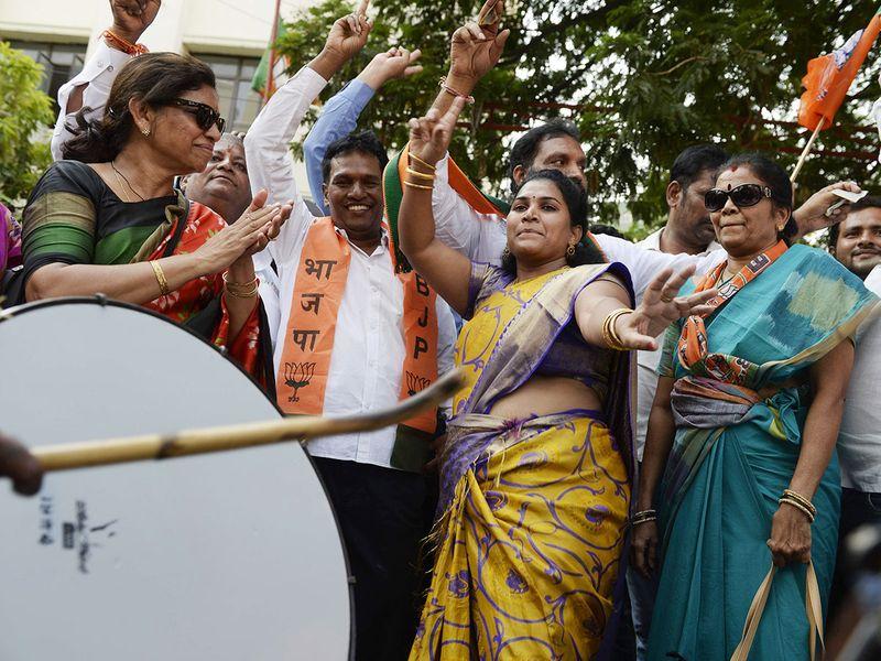 BJP supporters dance