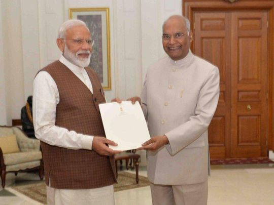 Narendra Modi with the President of India, Ram Nath Kovind