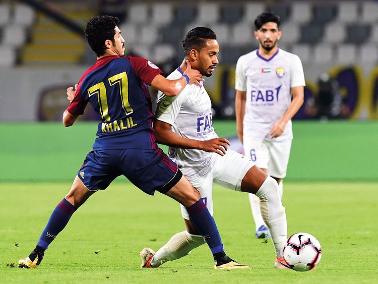 Action from the match between Al Wahda and Al Ain