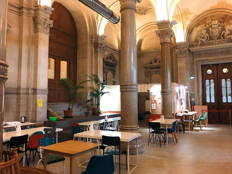 A view of the women's shelter in the palatial city hall in Paris