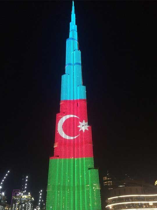 Azerbaijan flag on Burj