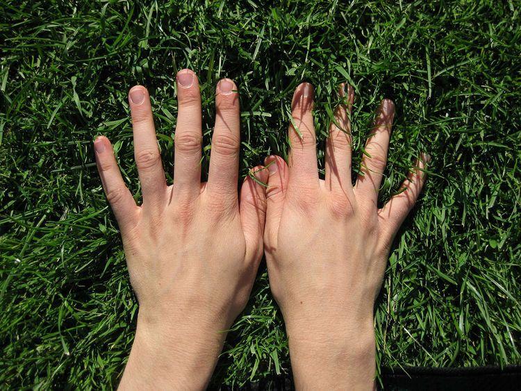 Hands on grass