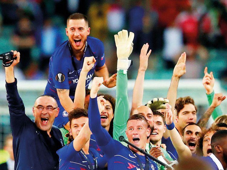 The Chelsea team celebrate