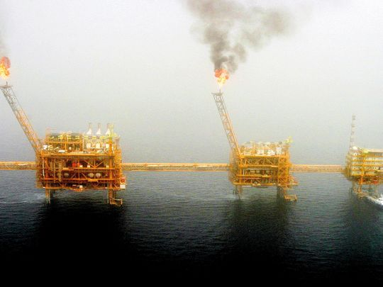 An oil production platform at the Soroush oilfields, south of Tehran