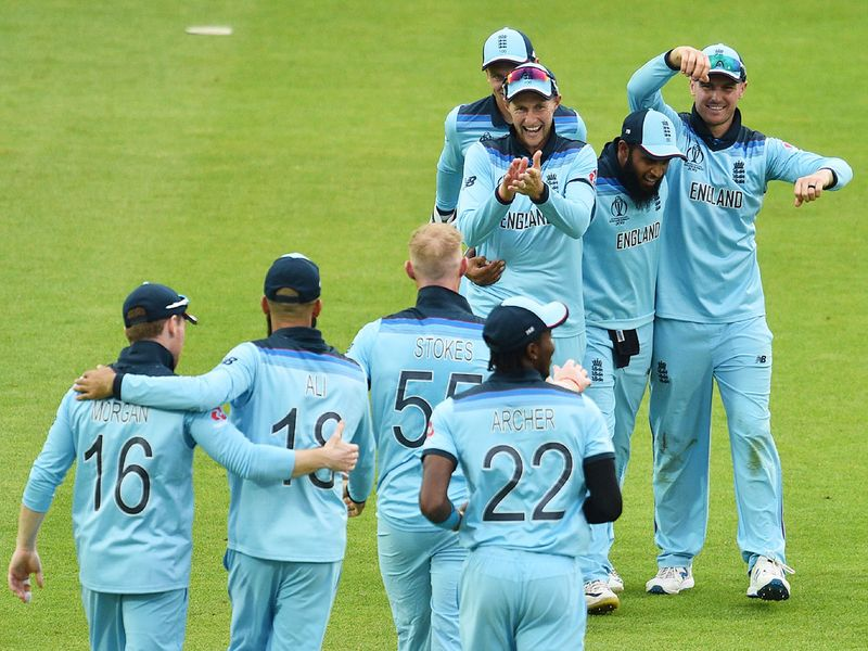 England cricketers celebrate victory
