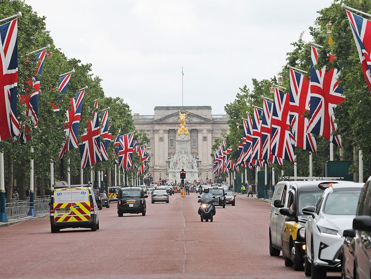 United Kingdom flags fly at Pall Mall