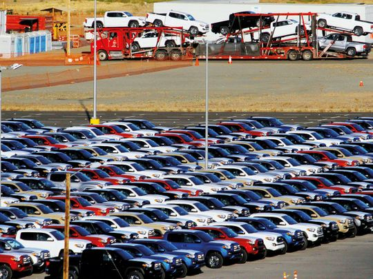 Vehicles at a stockyard of the Toyota plant in Tijuana, Mexico