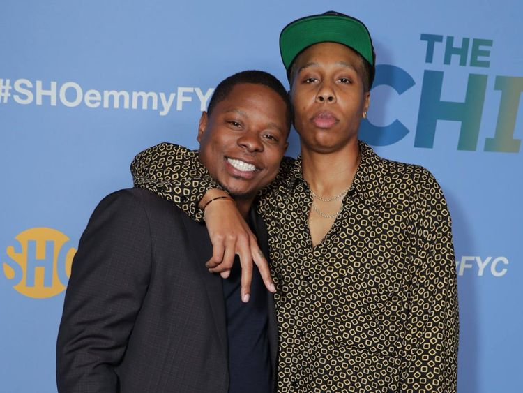 Lena Waithe, left, with Jason Mitchell.-1559374429996