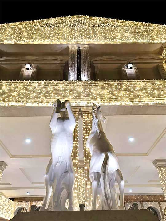 Dubai Palace adorned with bright lights for Sheikh Hamdan's