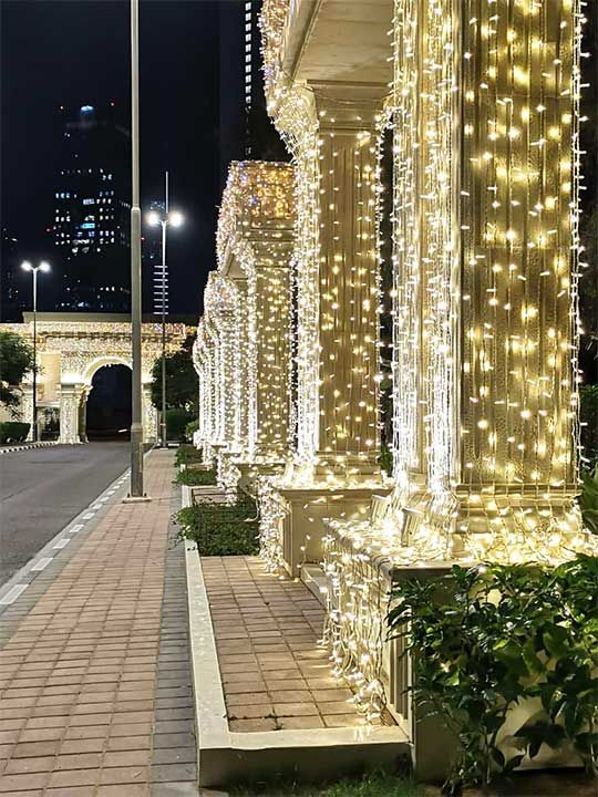 Dubai Palace adorned with bright lights for Sheikh Hamdan's weddings