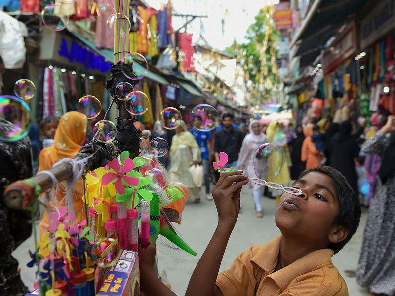 A boy sells toys
