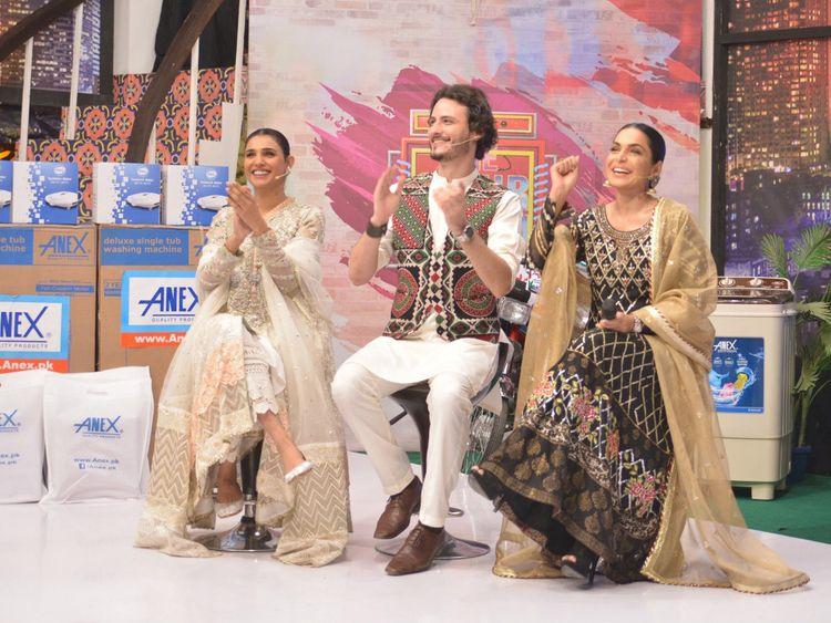 Amna Ilyas, Osman Khalid Butt and Meera promoting their film BAAJI on a TV show-1559549638912