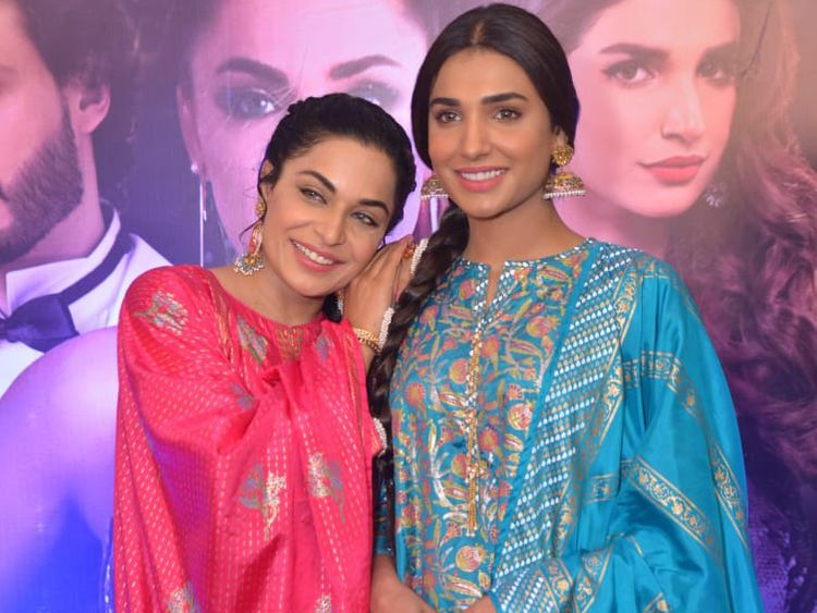 Meera and Amna Ilyas at the trailer launch of BAAJI-1559549634776