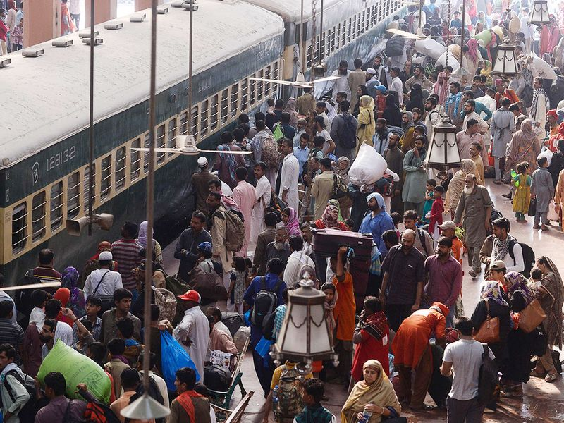 People board on a train