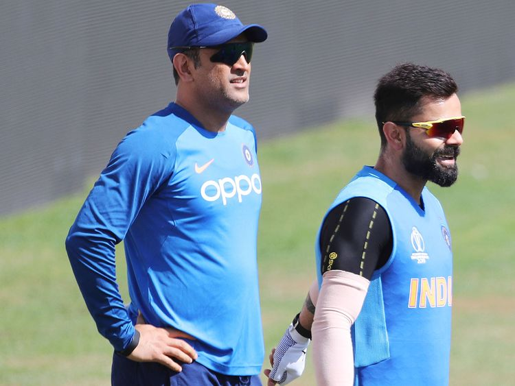 Virat Kohli and MS Dhoni attend a training session