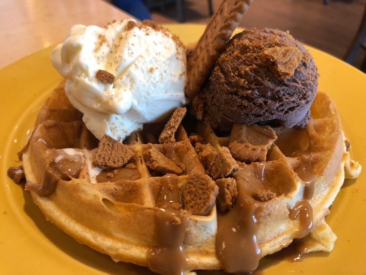 Waffle with ice cream at IHOP