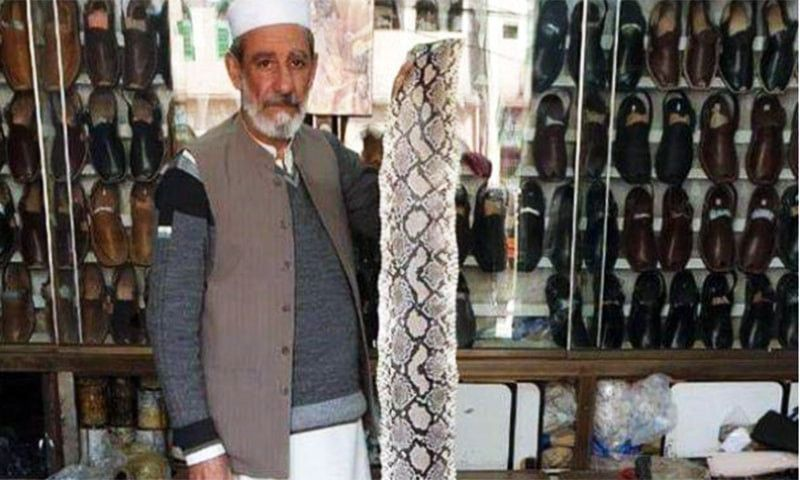 Cobbler makes python skin shoe for Pakistani Prime Minister Imran