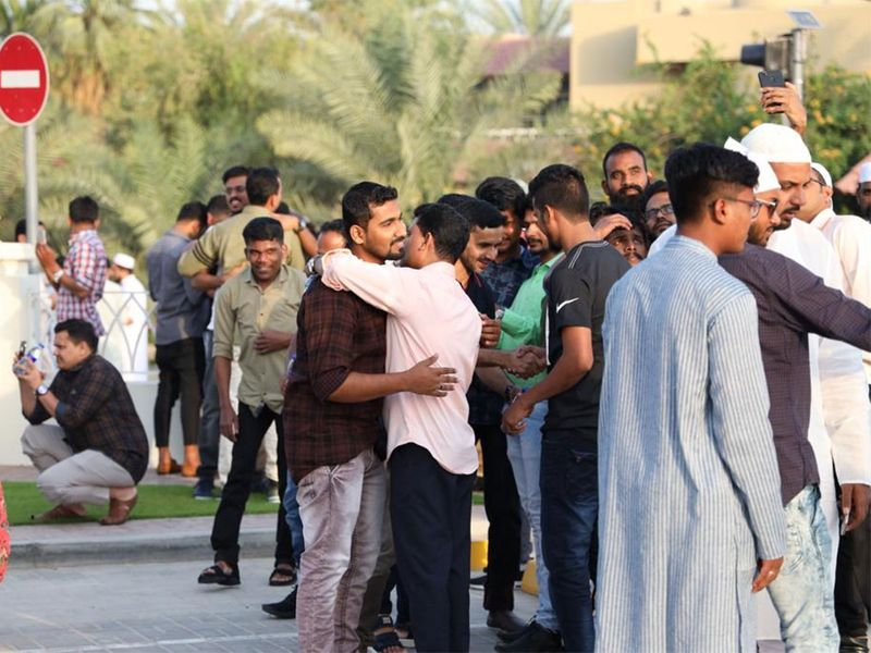 People greet each other on the occasion Eid Al Fitr