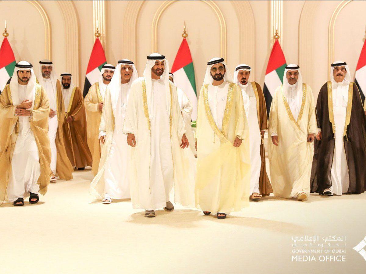 Rulers of the Emirates attend the Al Maktoum wedding reception