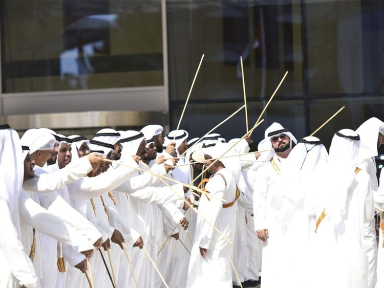 Traditional Emirati music band perform at the reception